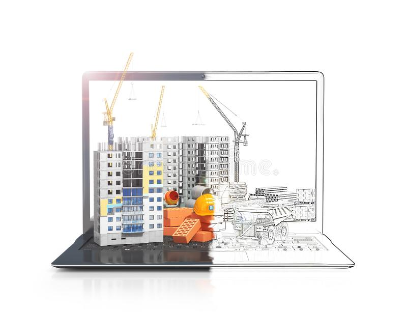 Construction site on the screen of a portable computer, skyscraper building, building materials. 3d illustration stock photos