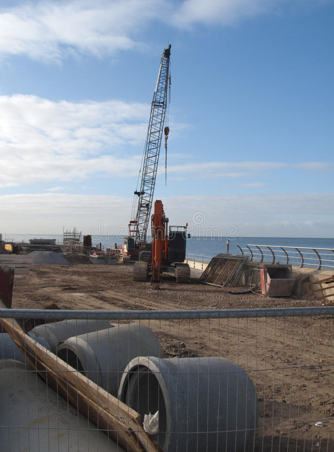 Construction site by the sea stock photos