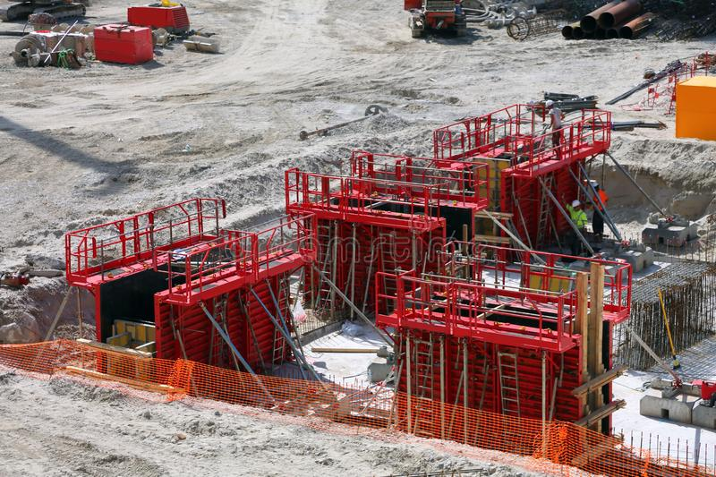 Construction site for the construction of a shopping center royalty free stock images