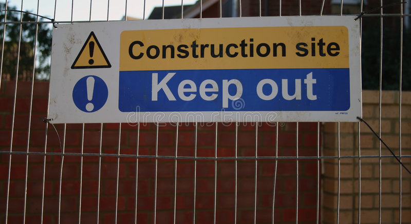 Construction site sign stock photos