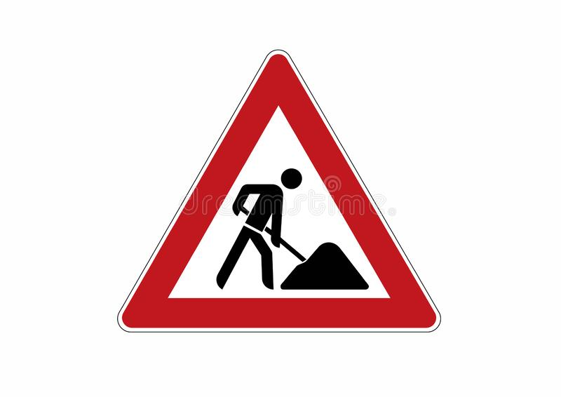 Construction site sign - caution, construction works traffic sign. Traffic sign for roadworks stock illustration