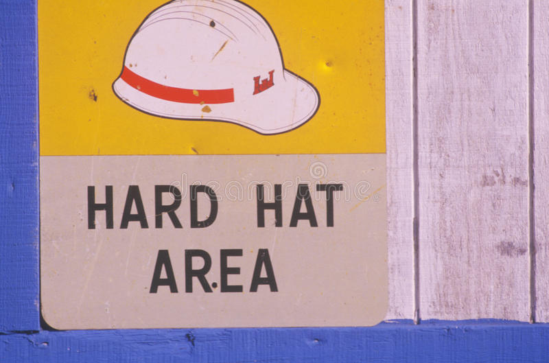 A construction site sign hard hat area stock photos