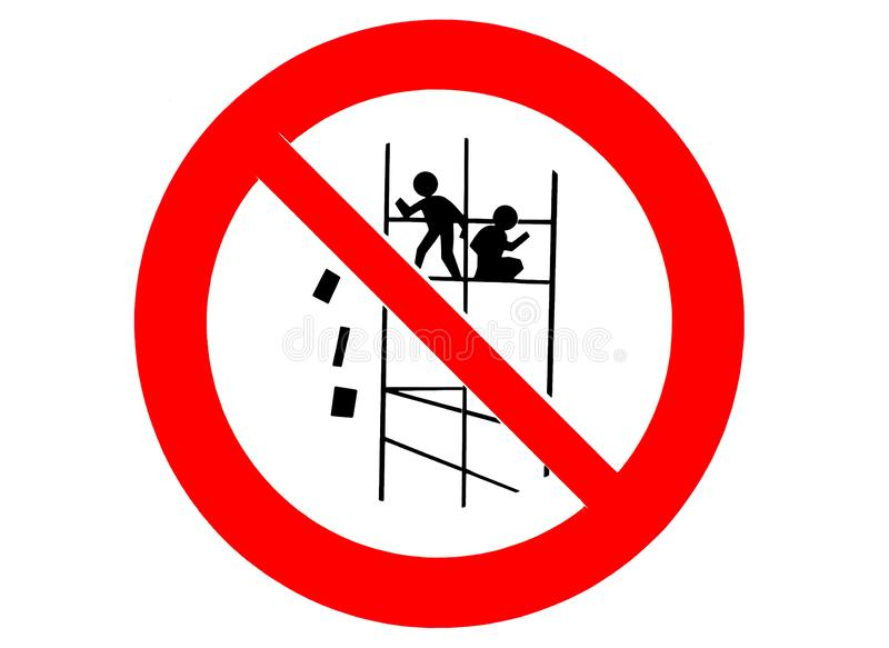 Construction site signpost, warning sign: do not throw material from scaffolding.  vector illustration