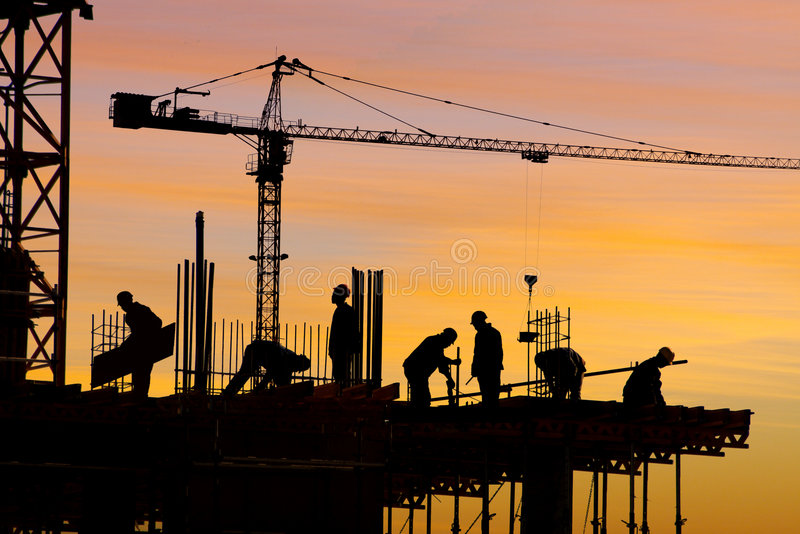 Download Construction Site Silhouette Stock Photo - Image of site, building: 964422