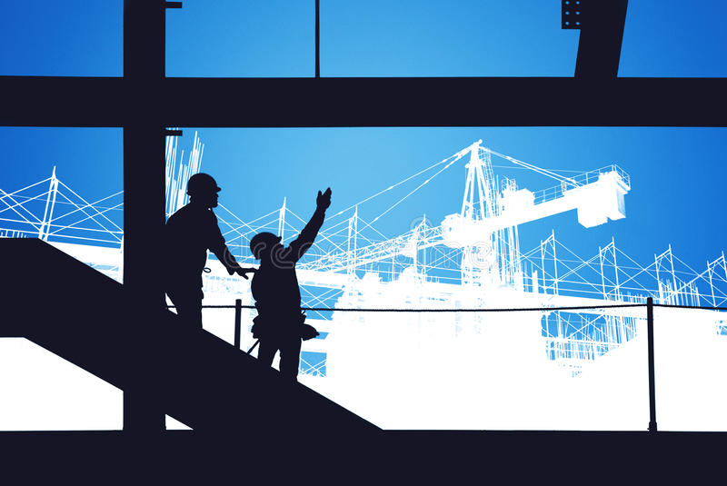 Construction site silhouette royalty free stock images