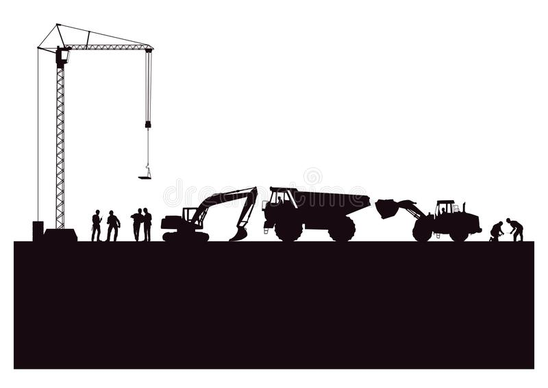 Construction site silhouette. Illustration of a line of construction people and equipment at a construction site in silhouette against a white background vector illustration