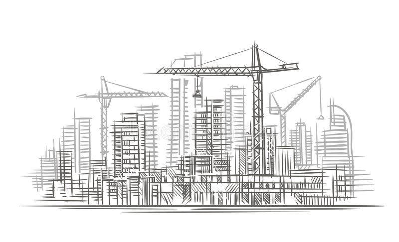 Construction Site Sketch. Vector. Layered. Stock Vector ...