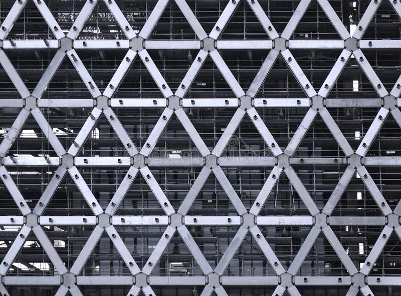 Construction Site with Steel Facade. Large scale construction project with a modern steel facade stock photo