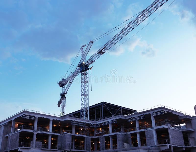 Construction site at sunset stock photography