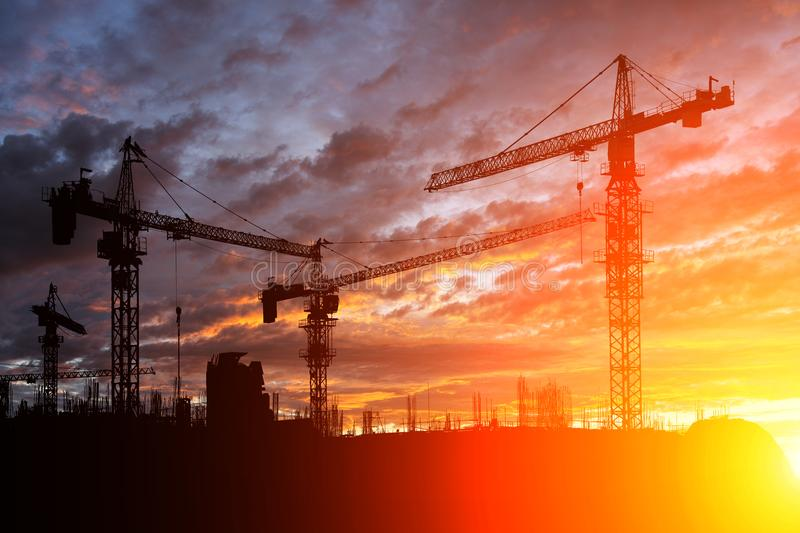 Construction site at sunset. Silhouette Construction site at sunset royalty free stock photo