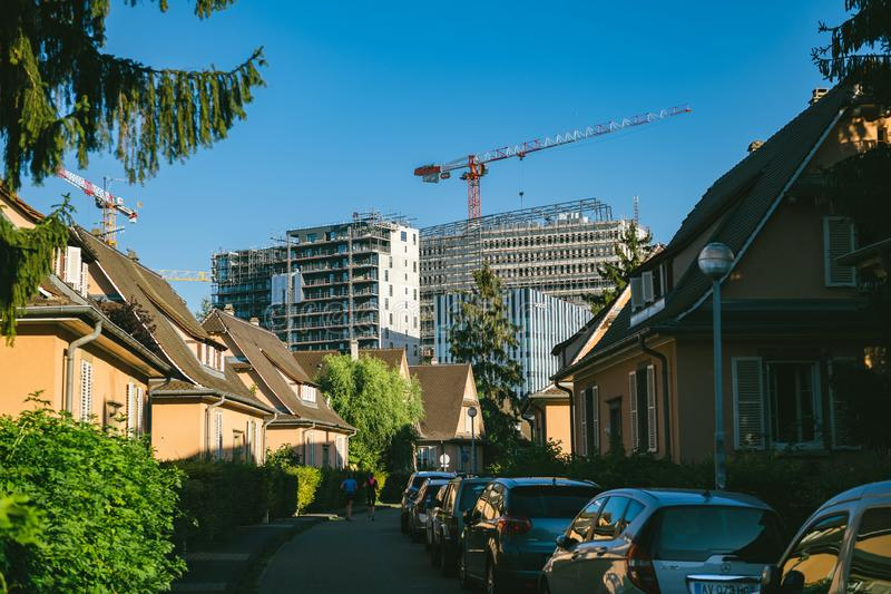 Construction site of tall buildings in Wacken Strasbourg stock photo