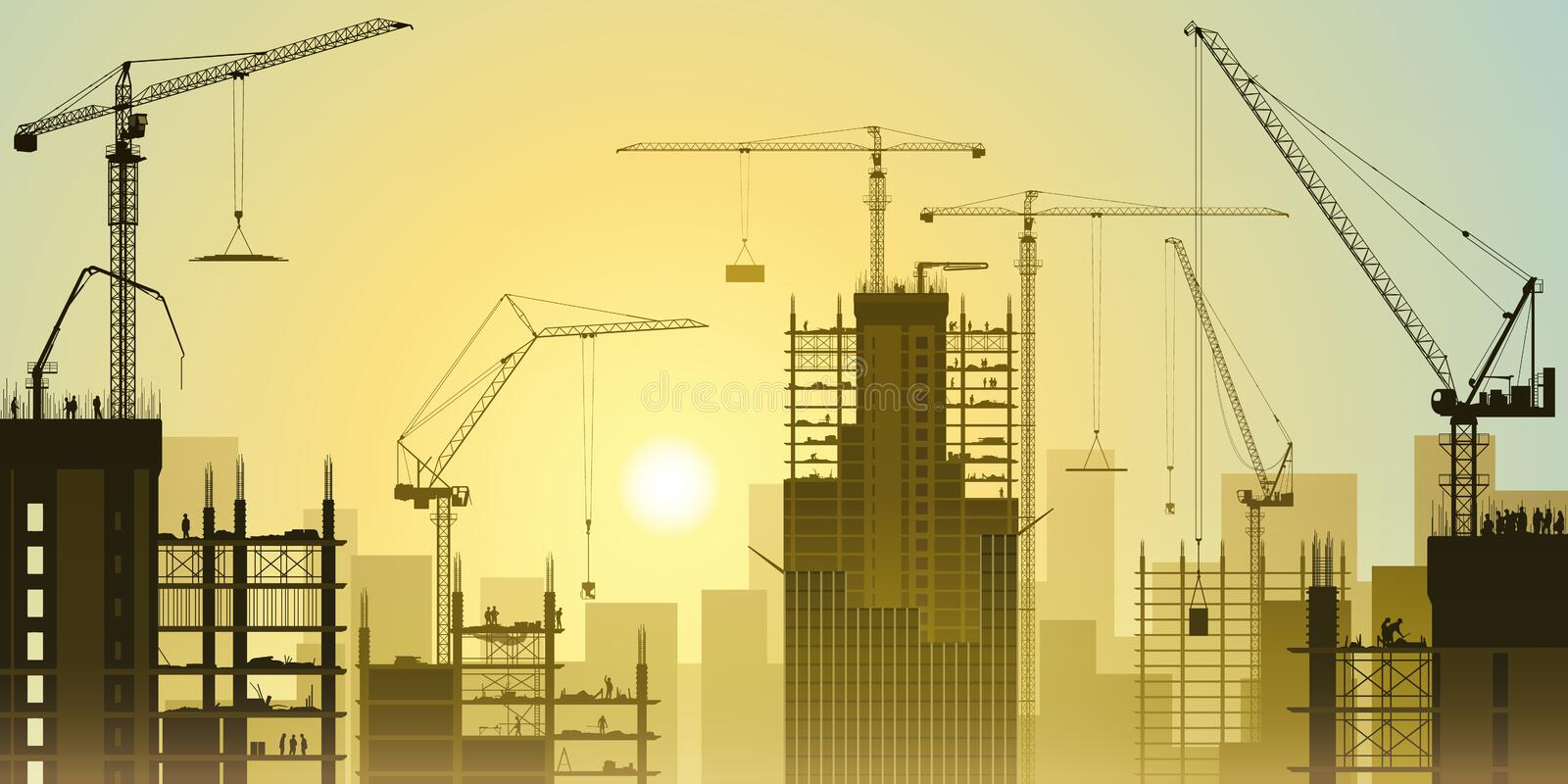 Construction Site with Tower Cranes royalty free illustration