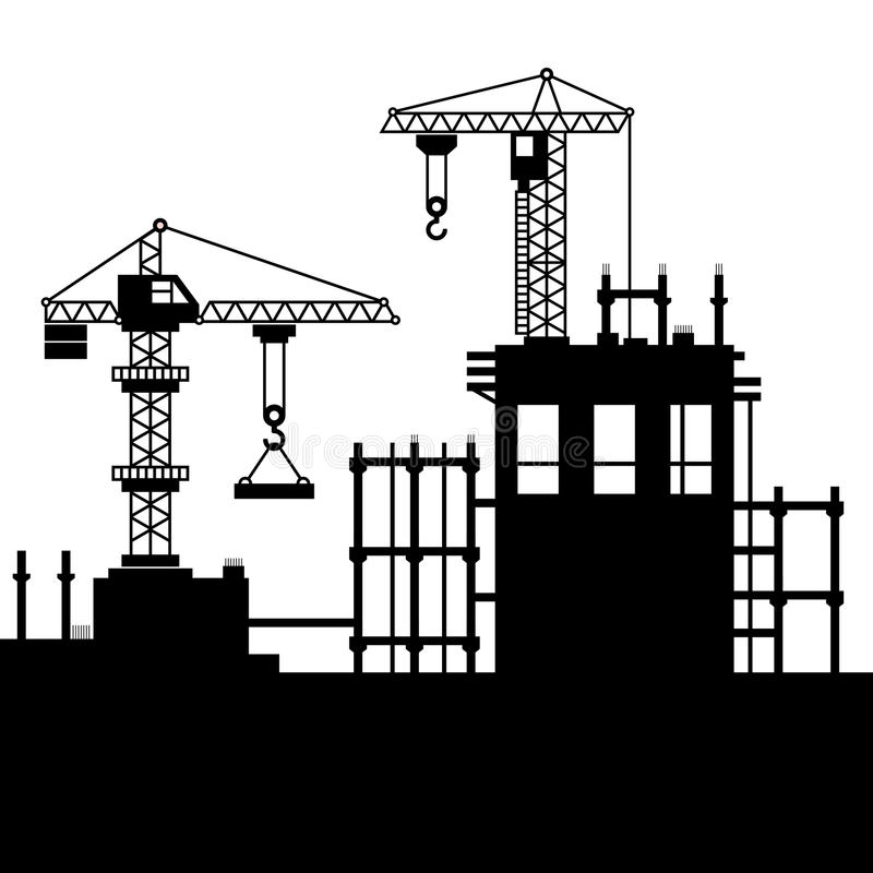 Construction Site with Tower Cranes. Vector. Illustration royalty free illustration