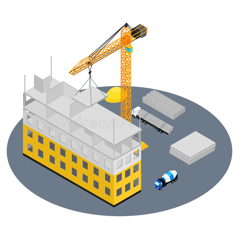 Construction site. Vector illustration. Construction site, house under construction. The concrete blocks. Isometric, infographic royalty free illustration