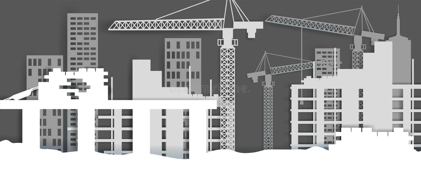 Construction site, vector illustration in paper art style. Construction site, vector illustration in paper art modern craft style. House construction, home royalty free illustration