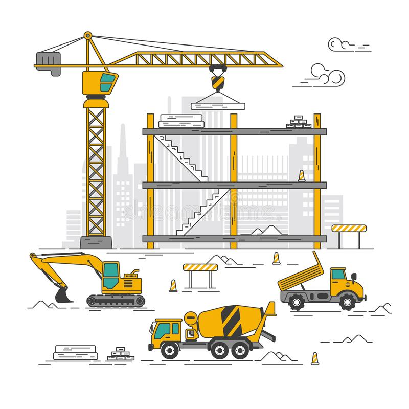 Construction site and vehicles. Graphic of excavator and truck and crane in construction site, concept of construction industry stock illustration