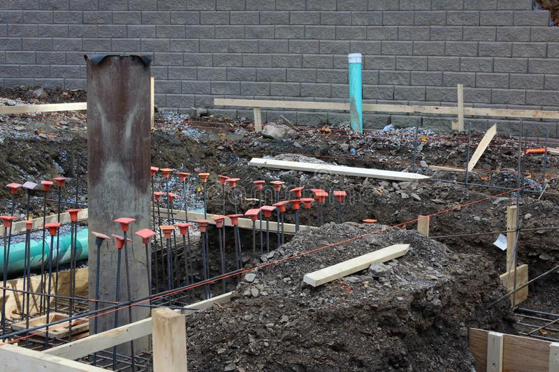 Construction site view with level lines pipes and rebar, horizon stock images
