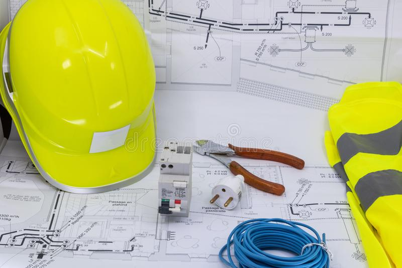 Electricity, Electrician Graphic Resource With Home Plan Safety Equipment And Electrical Equipment For Electrician stock photography