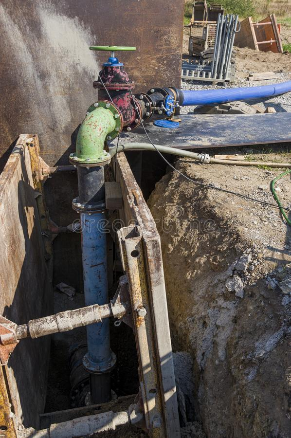 Construction site on a water pipe as supply line for construction area royalty free stock photos