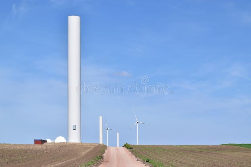 Construction site of a wind farm in eastern Europe stock photography
