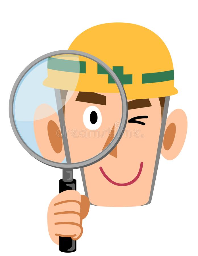 Construction site worker peeking through a magnifying glass, man wearing a helmet. The image of a Construction site worker peeking through a magnifying glass royalty free illustration