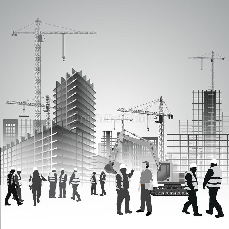 Construction site workers. Construction site with cranes, excavator and workers. Vector illustration stock illustration