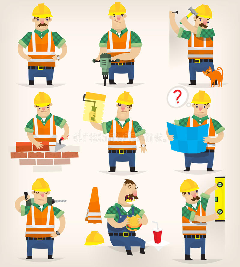 Construction site works. Set of colorful grown up men making different house remodeling and building works at construction site stock illustration