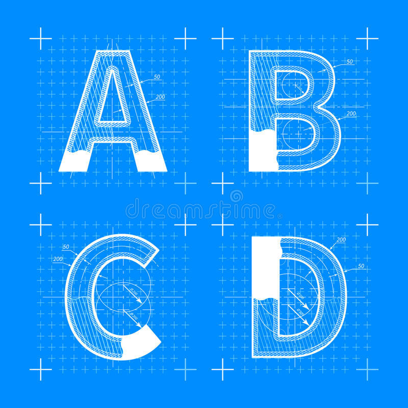 Construction sketches of a b c d letters stock vector illustration construction sketches of a b c d letters blueprint style font malvernweather Gallery