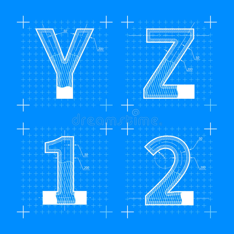 Construction sketches of y z 1 2 letters blueprint style font stock download construction sketches of y z 1 2 letters blueprint style font stock vector illustration malvernweather Image collections