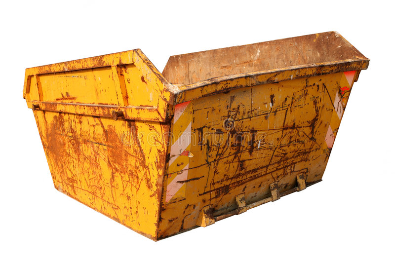 Construction Skip. Old rusty skip used for the removal of construction waste, isolated on white stock photo