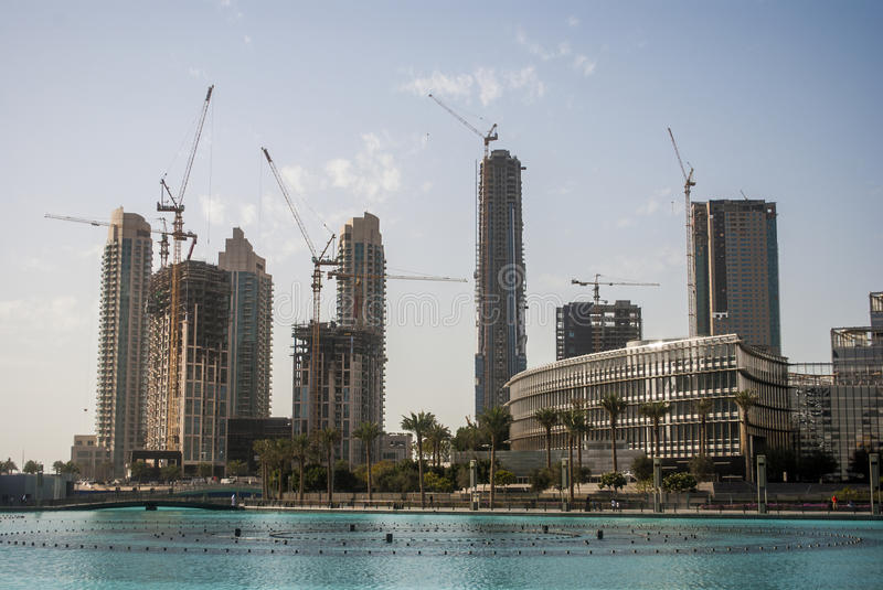Construction of Skyscapers in Dubai stock photos