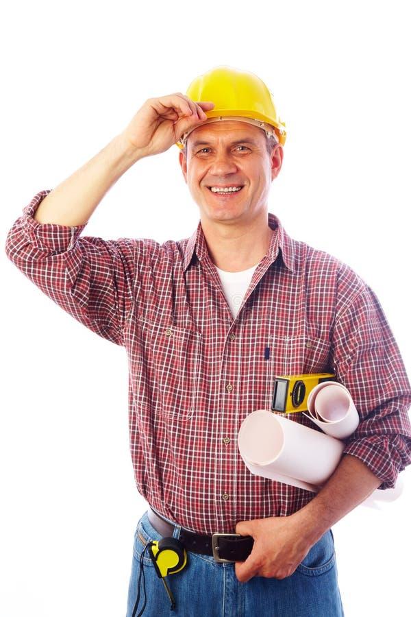 Construction souriant dans l'appareil-photo image libre de droits