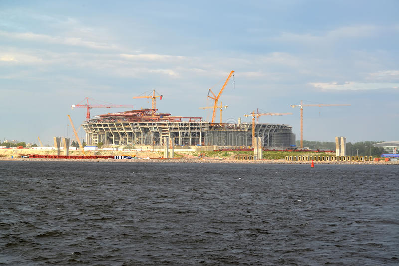 Construction of stadium for football club 'Zenit' on the Krestovsky island. St. Petersburg.  stock images