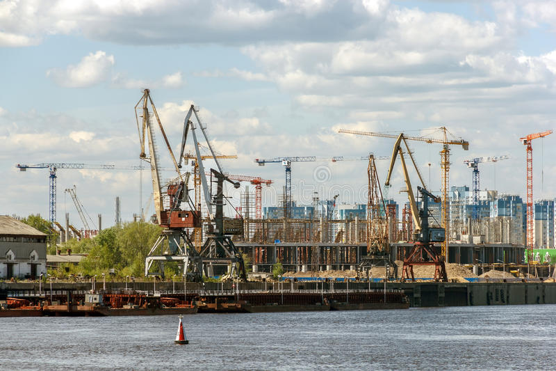 Construction of the stadium to the World Cup in Nizhny Novgorod royalty free stock images