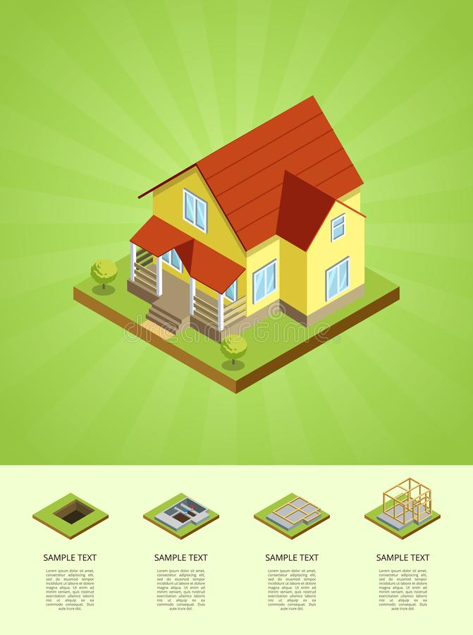 Download Construction Stages Of Countryside House Stock Vector    Illustration Of Base, Pouring: 104971819