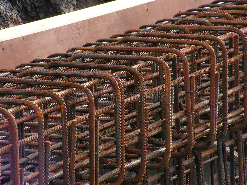 Construction steel. A close up of the steel reinforcement rods being used in the ongoing harbour improvements stock photography