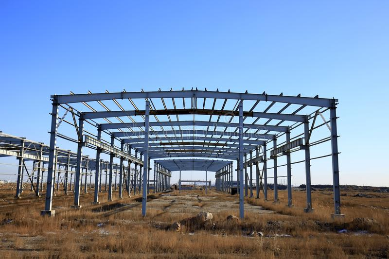 Construction of steel structure. Steel structure in construction site stock photos