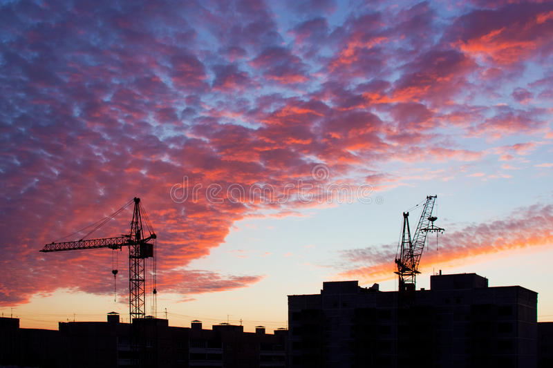 Construction and sunset stock image