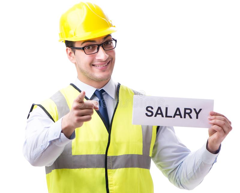 Construction supervisor asking for higher salary isolated on whi. Te background royalty free stock photos