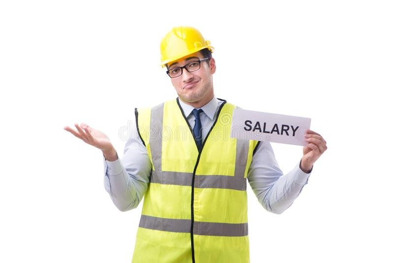 Construction supervisor asking for higher salary isolated on whi royalty free stock photos