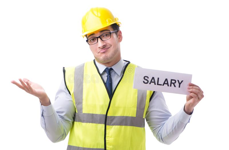 Construction supervisor asking for higher salary isolated on whi. Te background royalty free stock photography
