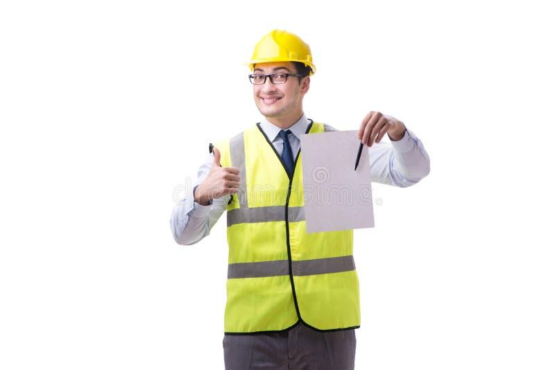 Construction supervisor with blank sheet isolated on white backg. Round royalty free stock photo