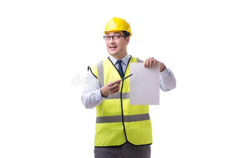 Construction supervisor with blank sheet isolated on white backg. Round royalty free stock photography