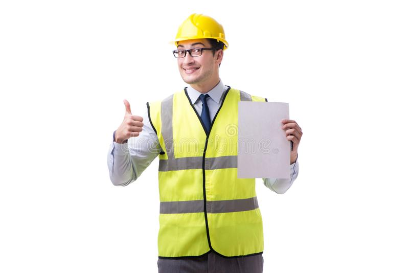 Construction supervisor with blank sheet isolated on white backg. Round royalty free stock photos
