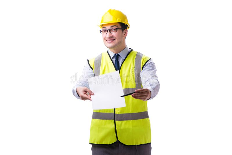 Construction supervisor with blank sheet isolated on white backg. Round stock images