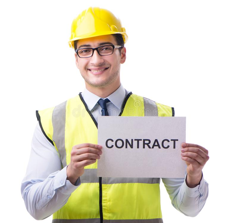 Construction supervisor with contract isolated on white backgrou. Nd royalty free stock images