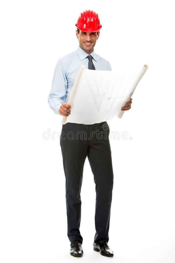 Construction supervisor looking at blueprints stock photos