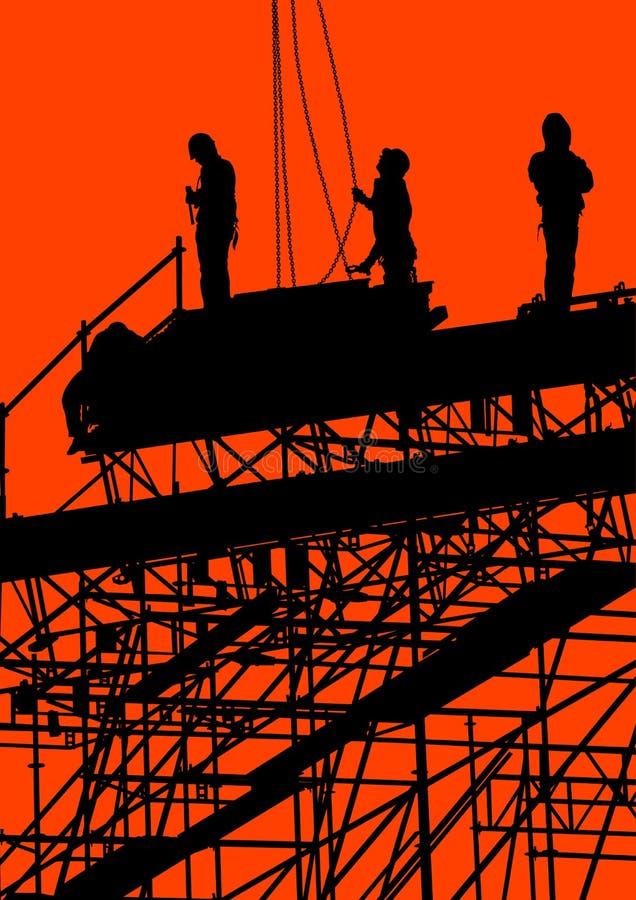 Construction sur le fond rouge illustration stock