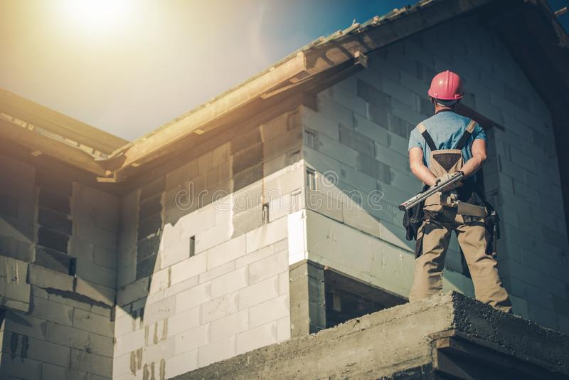 Construction surveillée de Chambre images stock