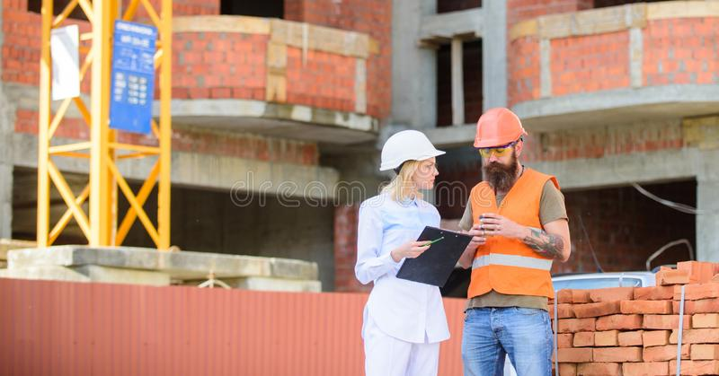 Construction team communication concept. Relationships between construction clients and participants building industry royalty free stock images